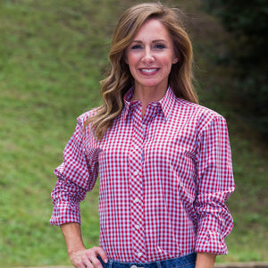 Whistle River Diagonal Placket Blouse Red Gingham