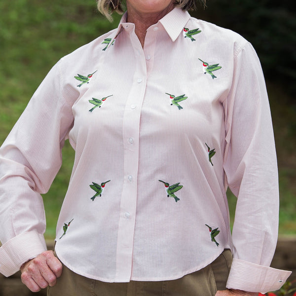 Whistle River Peach Stripe Button Up Embroidered Hummingbird Blouse - Front Detail