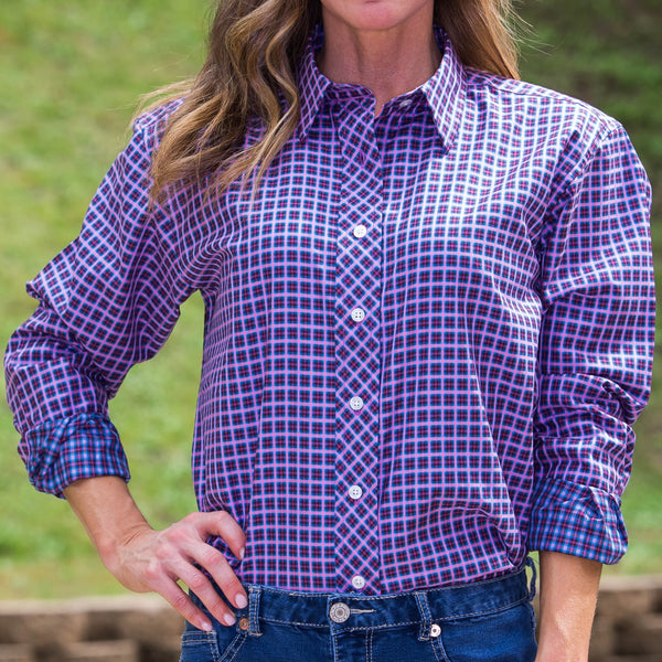 Whistle River Diagonal Placket Blouse Pink Plaid