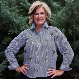 Whistle River Black Stripe Button Up Embroidered Hummingbird Blouse - Front