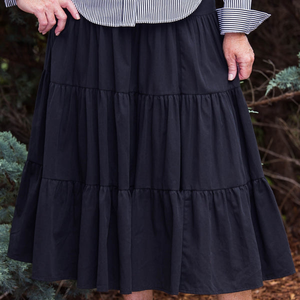 Whistle River Wabash Tiered Black Skirt