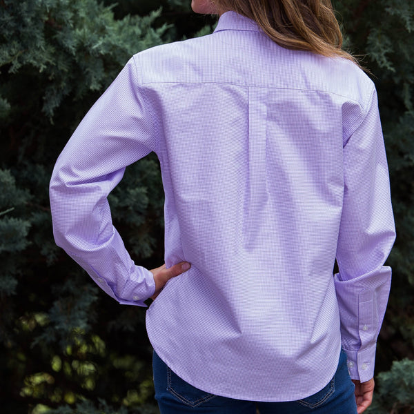 Whistle River Lilac Button Up Embroidered Butterfly Blouse - Back