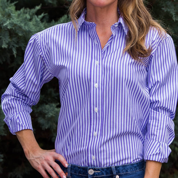 Whistle River Ladies Purple Stripe Long Sleeve Button Up Blouse - Front Detail