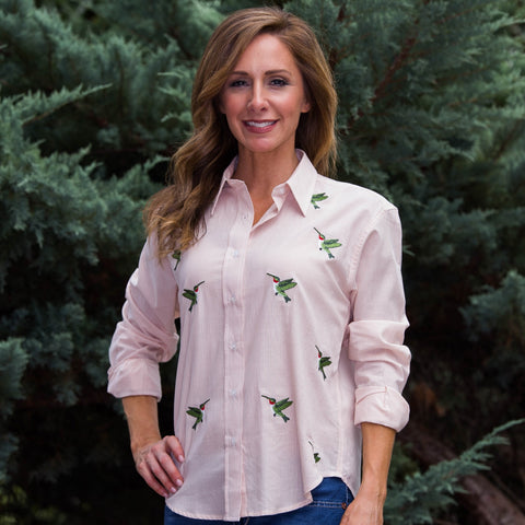 Whistle River Peach Stripe Button Up Embroidered Hummingbird Blouse - Front
