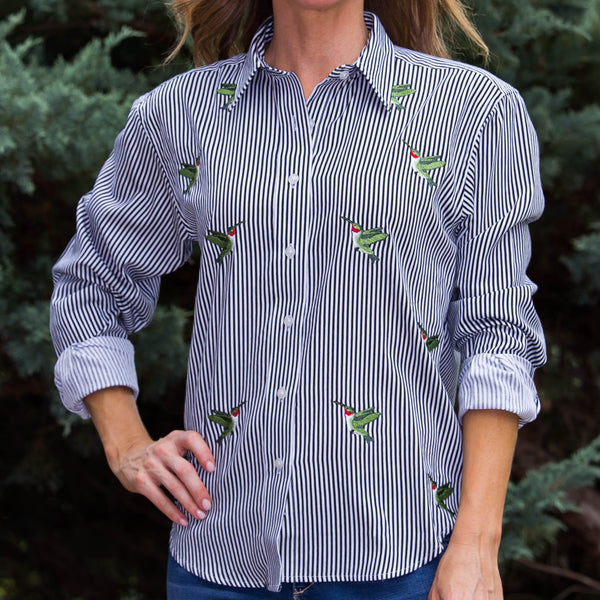 Whistle River Black Stripe Button Up Embroidered Hummingbird Blouse - Front Detail