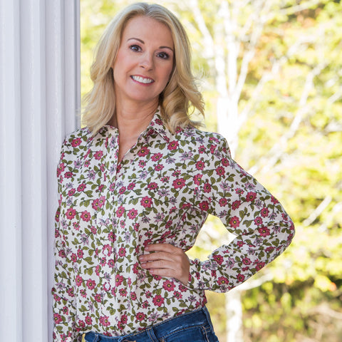 Whistle River Red Floral Ladies Long Sleeve Button Up Blouse - Front