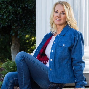 Whistle River Ladies Blue Denim Jacket with Red Fleece Lining - Front