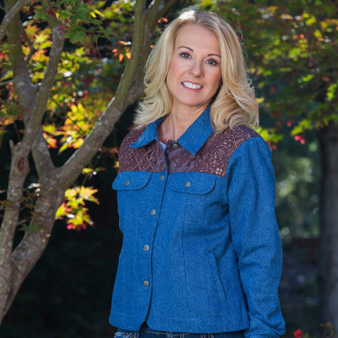 Whistle River Ladies Blue Denim Jacket with Tapestry Yoke - Front