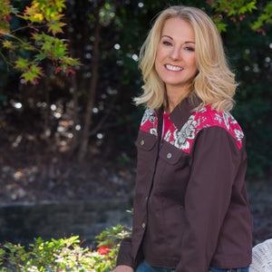 Whistle River Ladies Brown Twill Jacket with Red Floral Yoke - Front