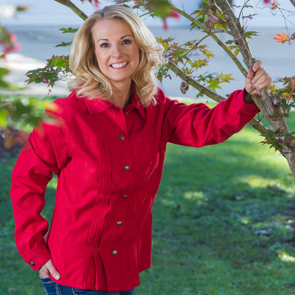 Whistle River Ladies Red Pleated Jacket - Model