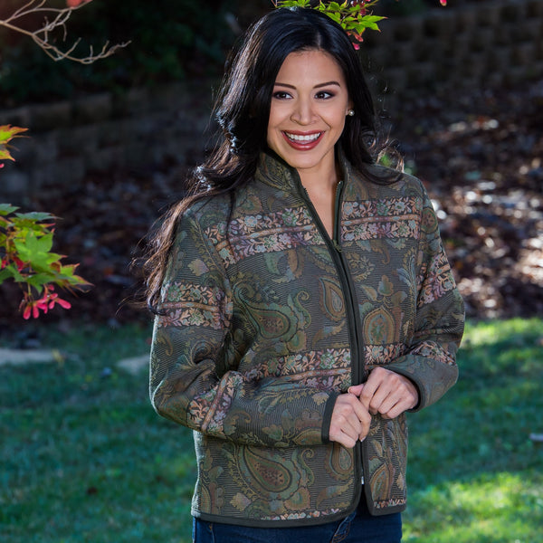 Whistle River Ladies Olive Green Paisley Tapestry Zip-Front Jacket - Front Detail