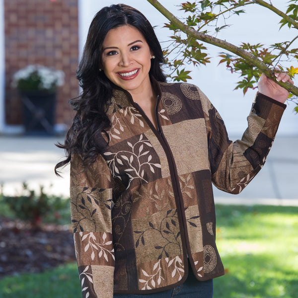 Whistle River Ladies Brown Tapestry Zip-Front Jacket - Front