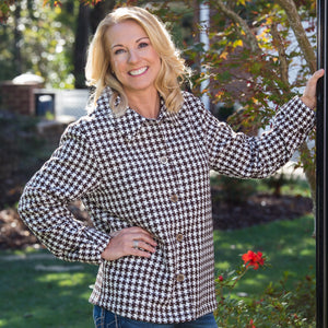 Whistle River Brown Houndstooth Ladies Jacket - Front