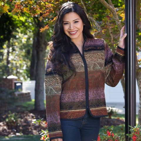 Whistle River Ladies Multicolor Tapestry Zip-Front Jacket - Front