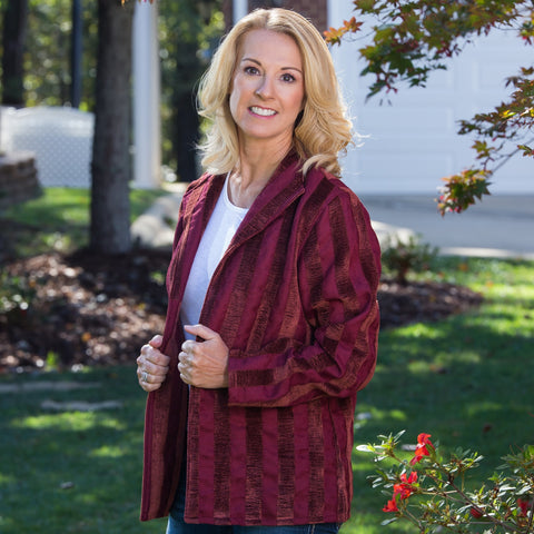 Whistle River Ladies Velour Burgundy Striped Jacket - Front