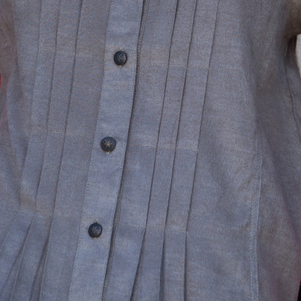Whistle River Ladies Taupe Pleated Jacket - Front Detail
