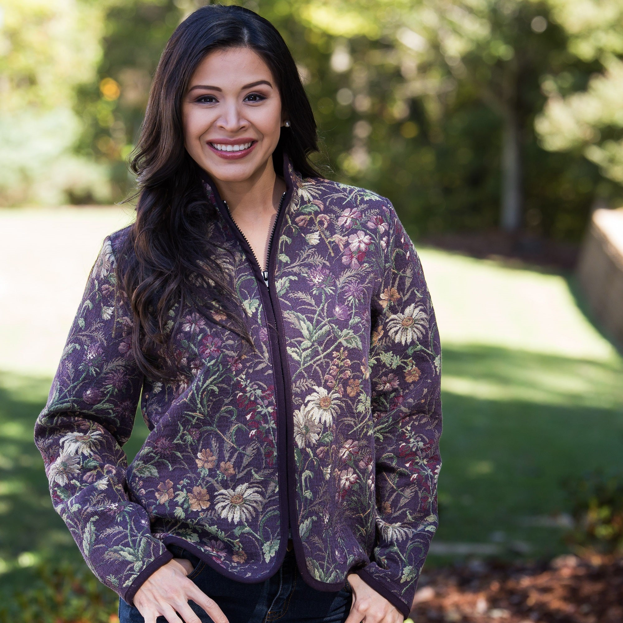 Whistle River Ladies Plum Wildflower Tapestry Zip-Front Jacket - Front