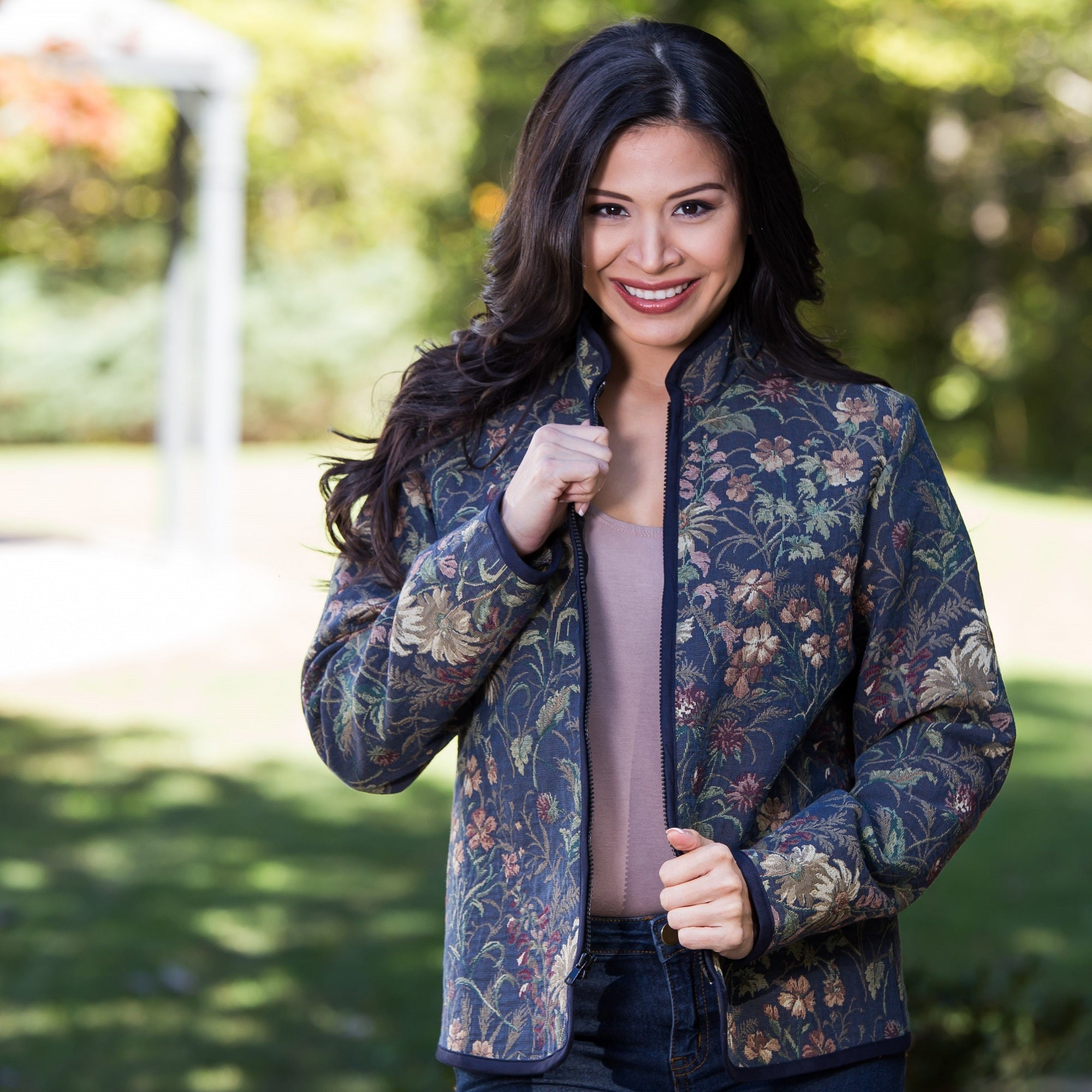 Whistle River Ladies Navy Wildflower Tapestry Zip-Front Jacket - Front