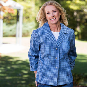 Whistle River Ladies Blue Plaid Fitted Jacket - Front