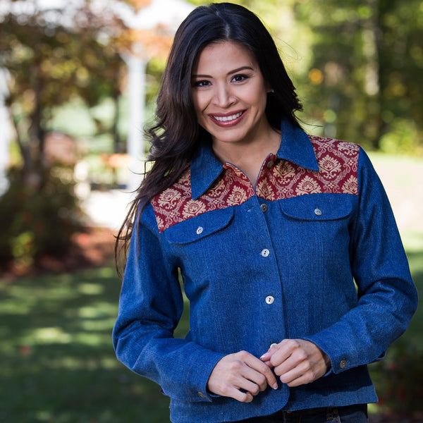 Whistle River Ladies Blue Denim Jacket with Damask Tapestry Yoke - Front