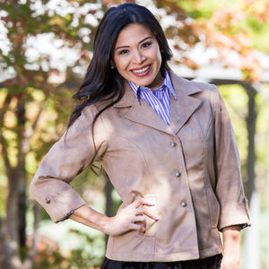 Whistle River Ladies Taupe Fitted Faux Suede Jacket - Model