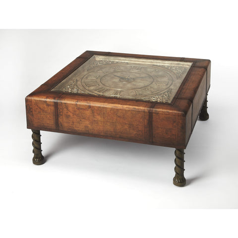 Butler Vasco Old World Map Clock Coffee Table 286070-Cocktail Tables-Floor Mirror Gallery