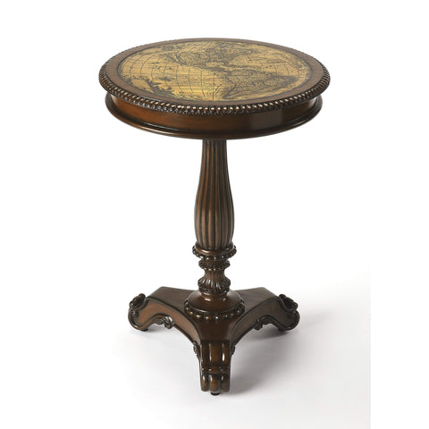 Butler Cortes Etched Brass Round Pedestal Table 503070-Accent Table-Floor Mirror Gallery