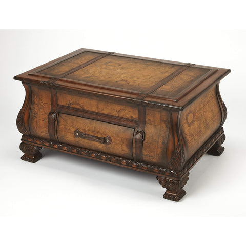 Butler Vasco Old World Map Bombe Trunk Table 553070-Cocktail Tables-Floor Mirror Gallery
