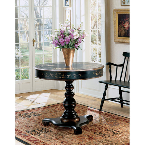 Butler Langley Regal Black Hand Painted Foyer Table 563069-Foyer Tables-Floor Mirror Gallery