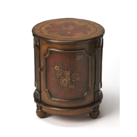 Butler Thurmond Red Hand Painted Drum Table 584065-Accent Table-Floor Mirror Gallery