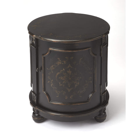 Butler Thurmond European Black Painted Drum Table 584177-ACCENT TABLE-Floor Mirror Gallery