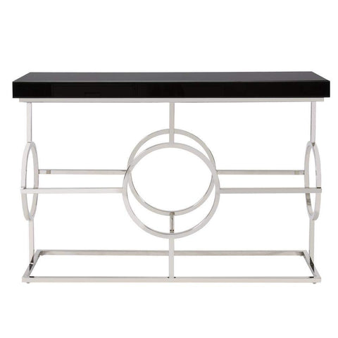 Howard Elliott Stainless Steel Console Table With Black Top 26H x 24W x 24D - 11182-Console Table-Floor Mirror Gallery