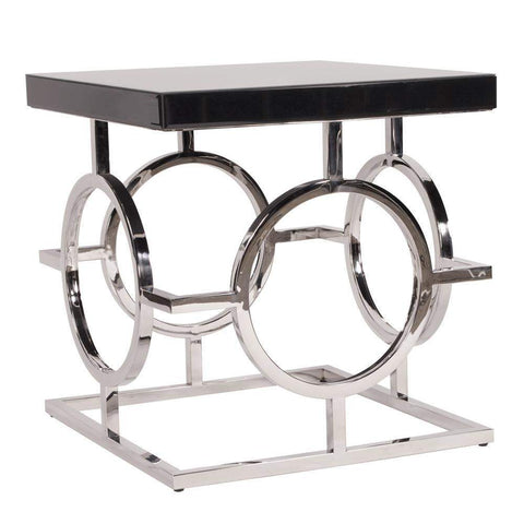 Howard Elliott Stainless Steel End Table With Black Top 28H x 12W x 12D - 11183-End Table-Floor Mirror Gallery