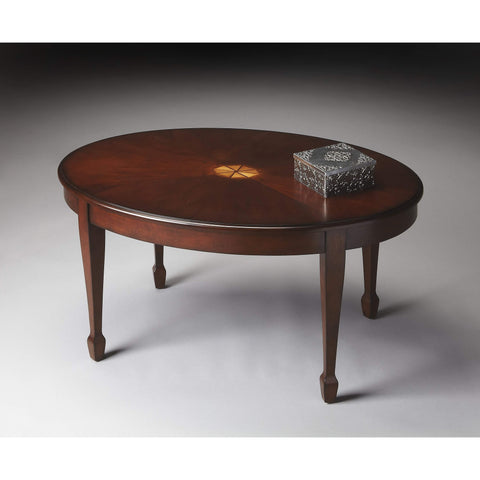 Butler Clayton Plantation Cherry Oval Coffee Table 1234024-Cocktail Tables-Floor Mirror Gallery