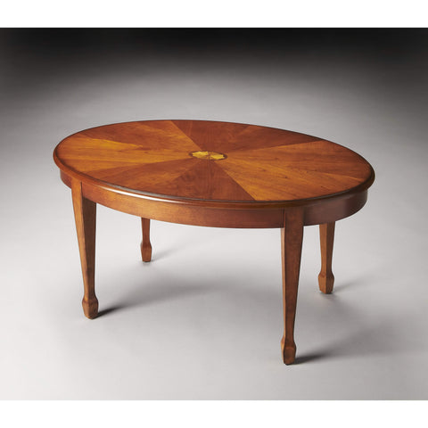 Butler Clayton Olive Ash Burl Oval Coffee Table 1234101-Cocktail Tables-Floor Mirror Gallery