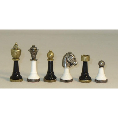 Black & White Metal Men, Ital Fama, Italy, 141BN, by WorldWise Imports-Chessmen-Floor Mirror Gallery