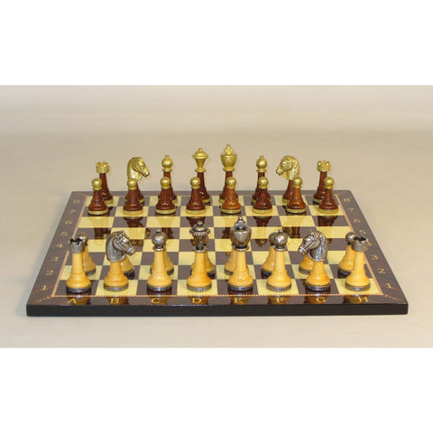 Wood & Metal men on Alpha Numeric Brd, WW Chess, Italy-Turkey, 141MW-714, by WorldWise Imports-Chess Set-Floor Mirror Gallery