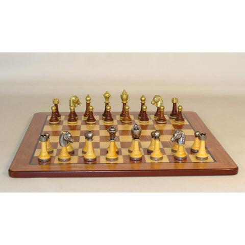 Wood & Metal men on Padauk Brd, WW Chess, Italy-China, 141MW-PM, by WorldWise Imports-Chess Set-Floor Mirror Gallery