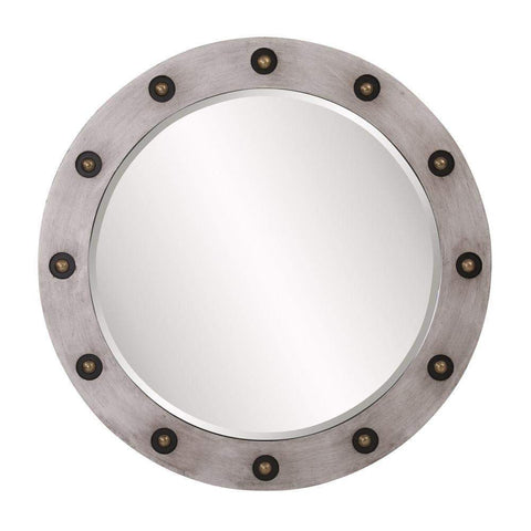 Howard Elliott Jax Round Industrial Mirror 36H x 36W x 1D - 14282-Wall Mirror-Floor Mirror Gallery