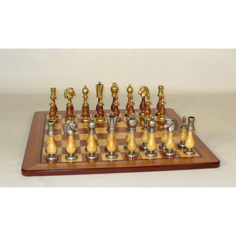 Staunton Metal and wood on Padauk Brd, WW Chess, Italy-China, 142MW-PM, by WorldWise Imports-Chess Set-Floor Mirror Gallery