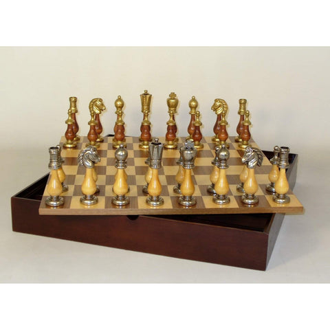 Staunton Metal and wood with Chest, WW Chess, Italy-China, 142MW-WCT, by WorldWise Imports-Chess Set-Floor Mirror Gallery