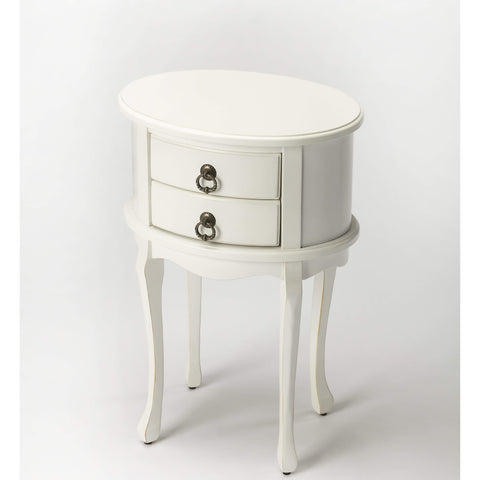 Butler Whitley Cottage White Oval Side Table 1589222-ACCENT TABLE-Floor Mirror Gallery