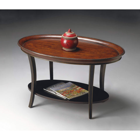 Butler Hamlet Café Noir Oval Coffee Table 1591104-Cocktail Tables-Floor Mirror Gallery