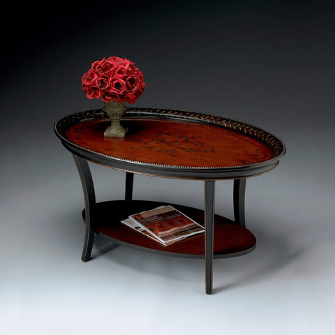 Butler Hamlet Traditional Red & Black Painted Oval Coffee Table 1591186-Cocktail Tables-Floor Mirror Gallery