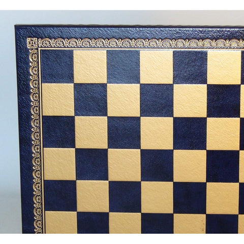 "13"" Blue & Gold Pressed Leather Board, Ital Fama, Italy, 201GB, by WorldWise Imports-Chess Board-Floor Mirror Gallery"