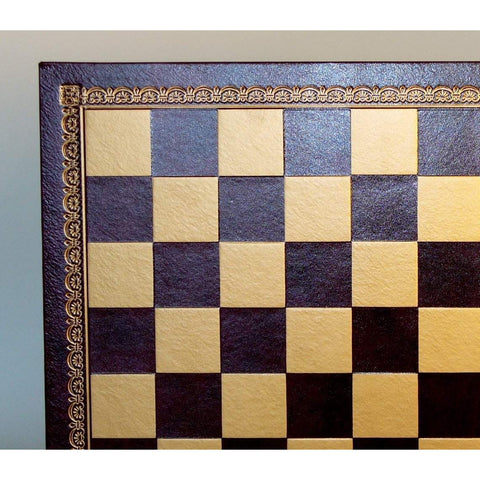 "13"" Burgundy & Gold Pressed Leather Board, Ital Fama, Italy, 201GR, by WorldWise Imports-Chess Board-Floor Mirror Gallery"