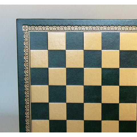 "13"" Green & Gold Pressed Leather Board, Ital Fama, Italy, 201GV, by WorldWise Imports-Chess Board-Floor Mirror Gallery"