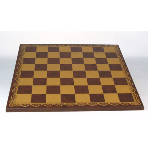 "18"" Brown & Gold Pressed Leather Board, Ital Fama, Italy, 203GM, by WorldWise Imports-Chess Board-Floor Mirror Gallery"