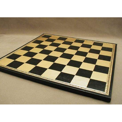 "18"" Blk&Gold Pressed Leather Board, Ital Fama, Italy, 203GN, by WorldWise Imports-Chess Board-Floor Mirror Gallery"
