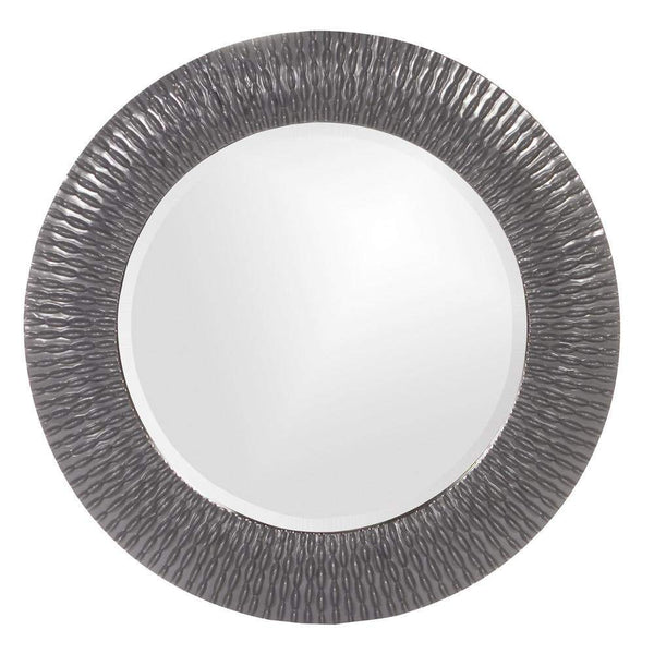 Howard Elliott Bergman Charcoal Gray Small Round Mirror 32H x 32W x 1D - 21143CH-Wall Mirror-Floor Mirror Gallery